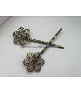 Horquilla vintage bronce flor