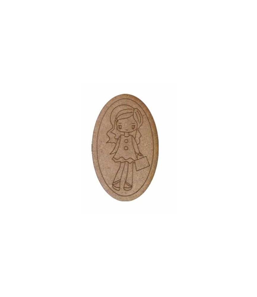 Silueta de madera Muñeca cartera ovalo