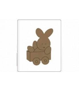 Silueta de madera infantil conejo carrito