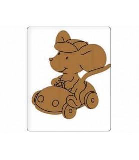 Silueta de madera infantil raton con coche