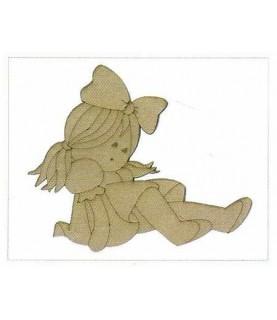 Silueta de madera infantil muñeca de trapo