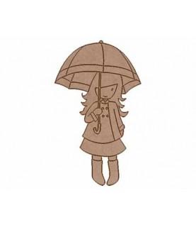 Silueta de madera Muñeca paraguas