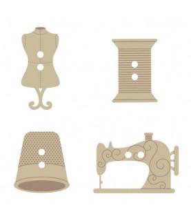 Pack de 24 botones madera costura