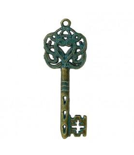 Colgante llave bronce azulado