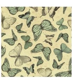 Tela mirabelle mariposas verde