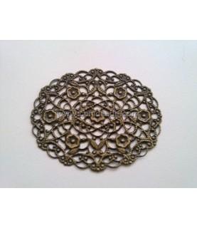 Conector base ovalado con filigrana bronce