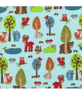 Tela algodón Woodland park azul animales