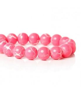 Pack 10 cuentas de cristal rosa 10 mm