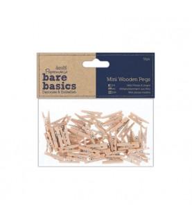 Pack 50 mini pinzas de color madera