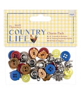 Pack 32 colgantes y botones country life