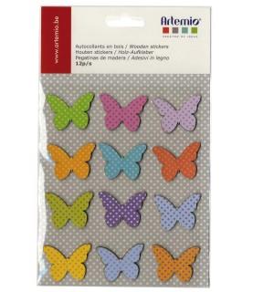Set de 12 mariposas adhesivas de madera para realizar decoraciones
