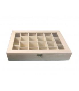 Caja vitrina expositor compartimentos
