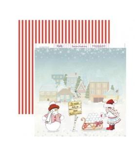 Papel scrap muñeco de nieve 30x30