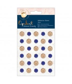Pack de 30 Gemas adhesivas azul y dorado