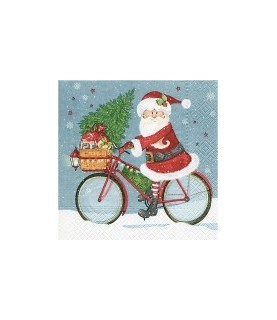 Servilleta papa noel en bicicleta 33x33cm