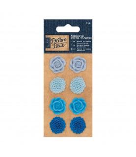 Pack 8 flores adhesivas de resina azules