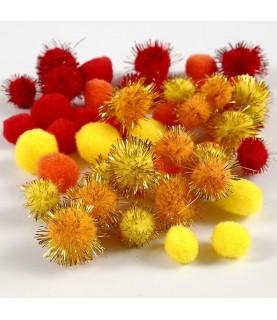 Bolsa 48 pompones tonos rojos, naranjas y amarillo