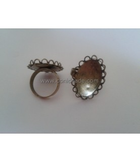 Anillo ajustable base ovalada 25x18mm bronce