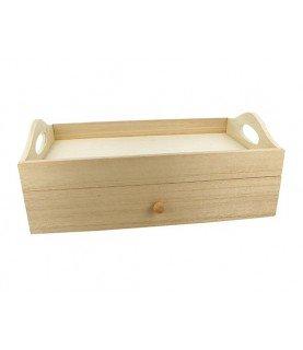 Bandeja de madera con cajon para te