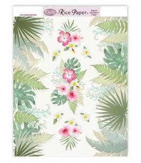 Papel de arroz flores y hojas tropical