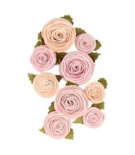 Pack 9 flores de papel rosas