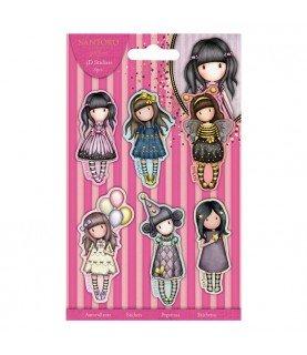Comprar 6 Pegatinas en 3D de las muñecas gorjuss de fiesta de Conideade