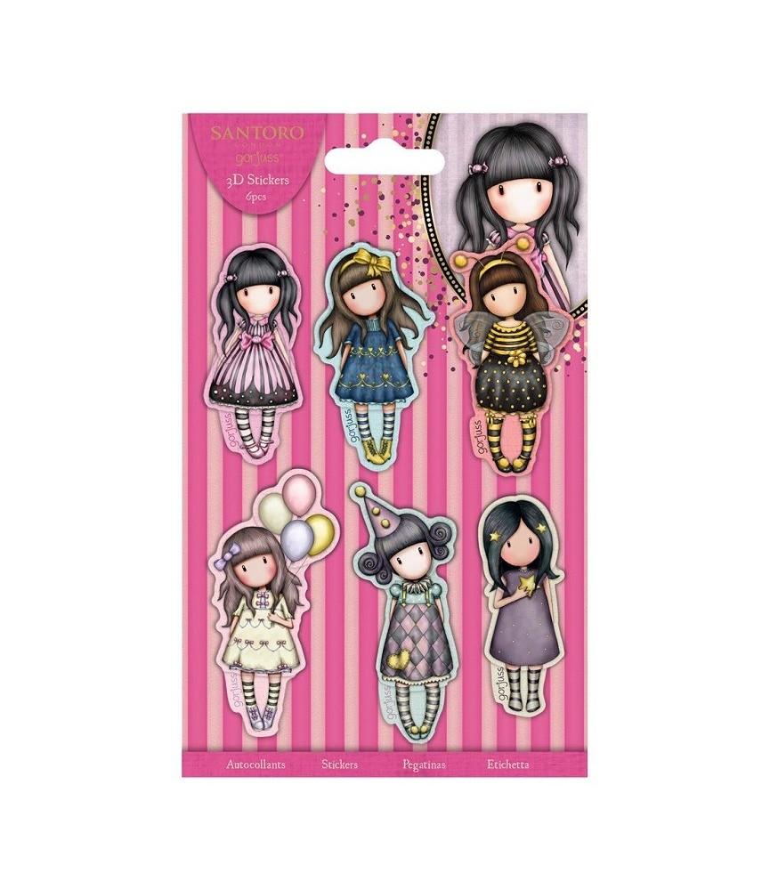 6 Pegatinas en 3D de las muñecas gorjuss de fiesta
