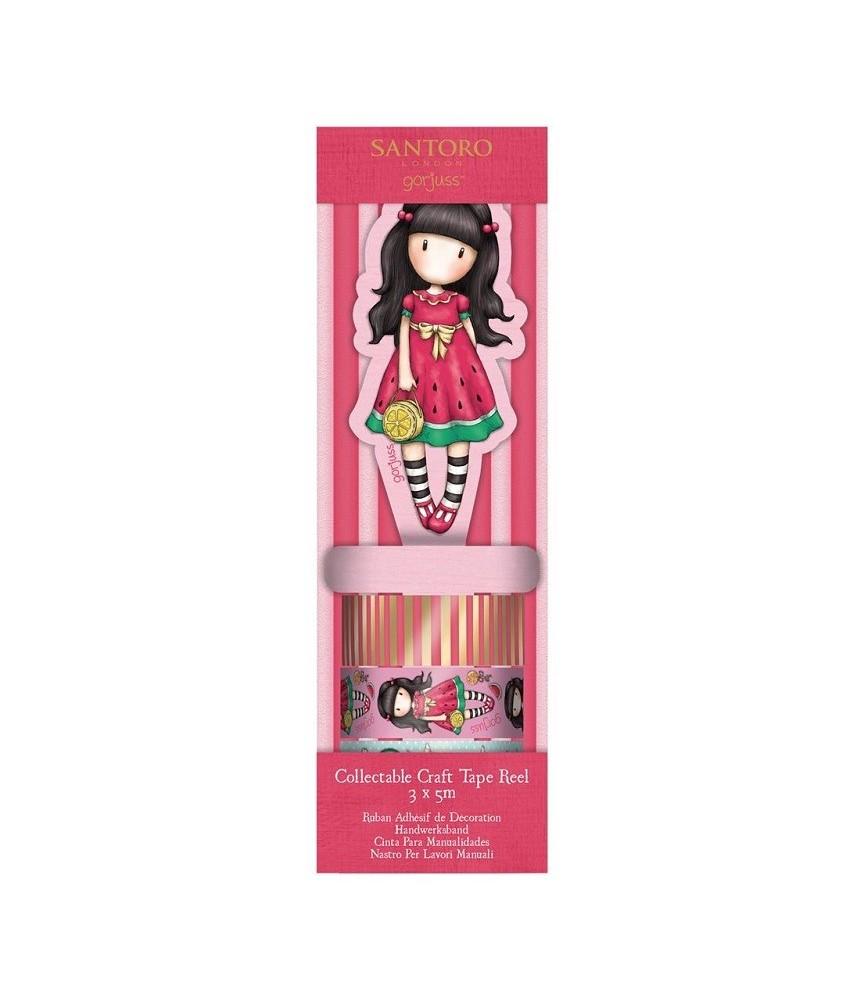 3 rollos de whasi tape gorjuss con dispensador rosa