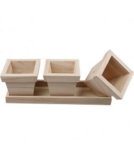 Pack 3 maceteros con bandeja de madera