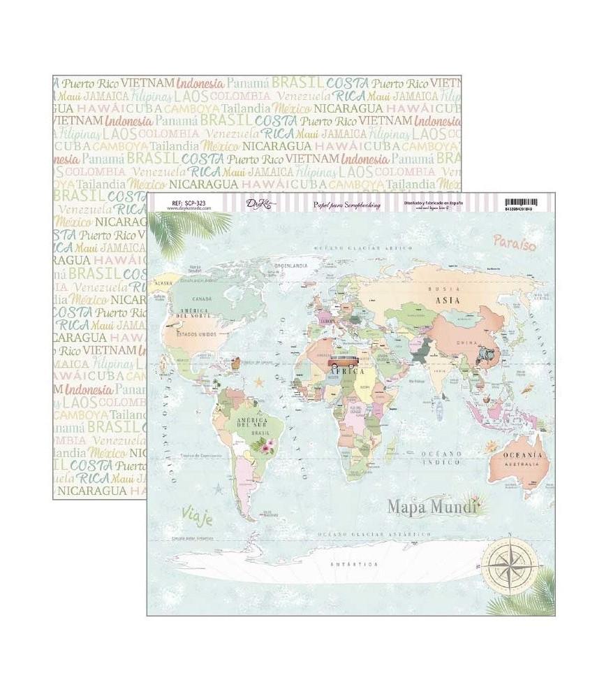 Papel scrap fiesta tropical Mapa mundi