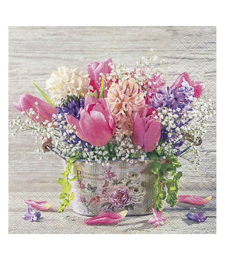 Servilleta para decoupage jarrón de primavera