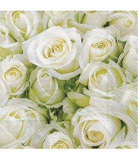 Servilleta para decoupage rosas blancas