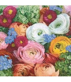 Servilleta para decoupage flores colores