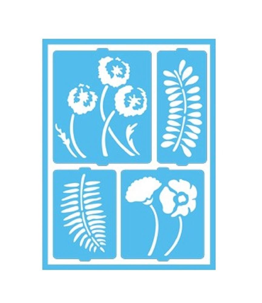 Plantilla 16 x 20 cm flores y helechos