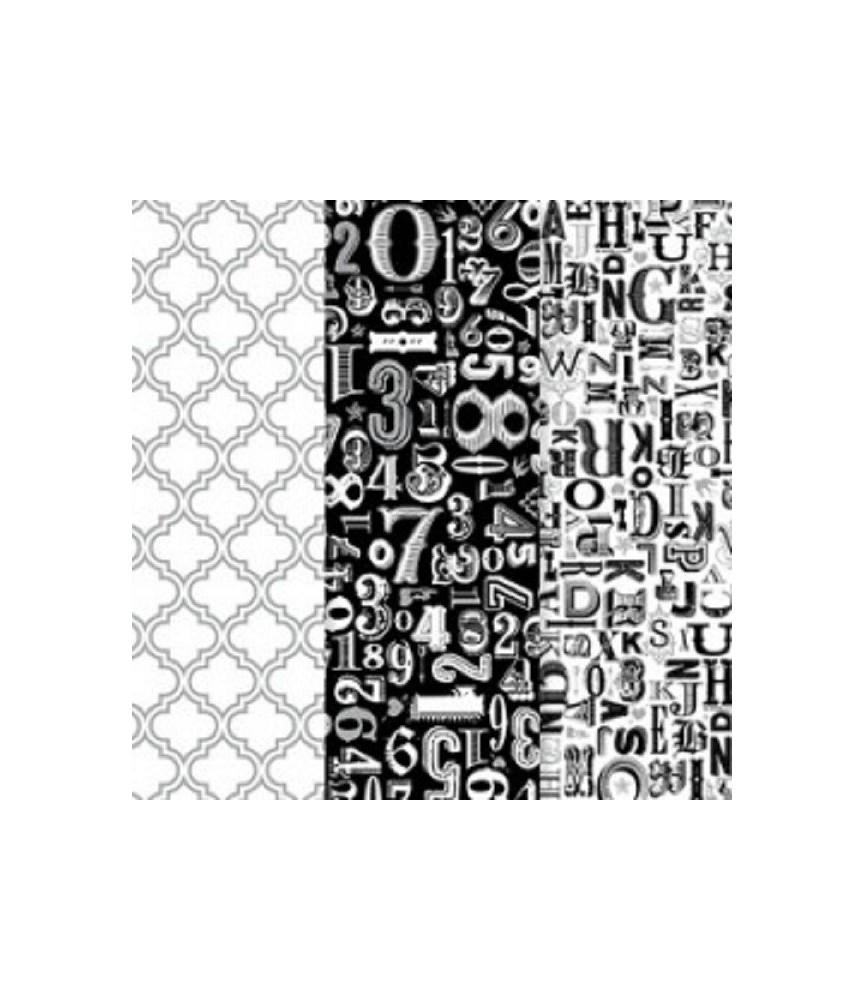 Pack de 3 hojas decoupage metalizadas negro y plata