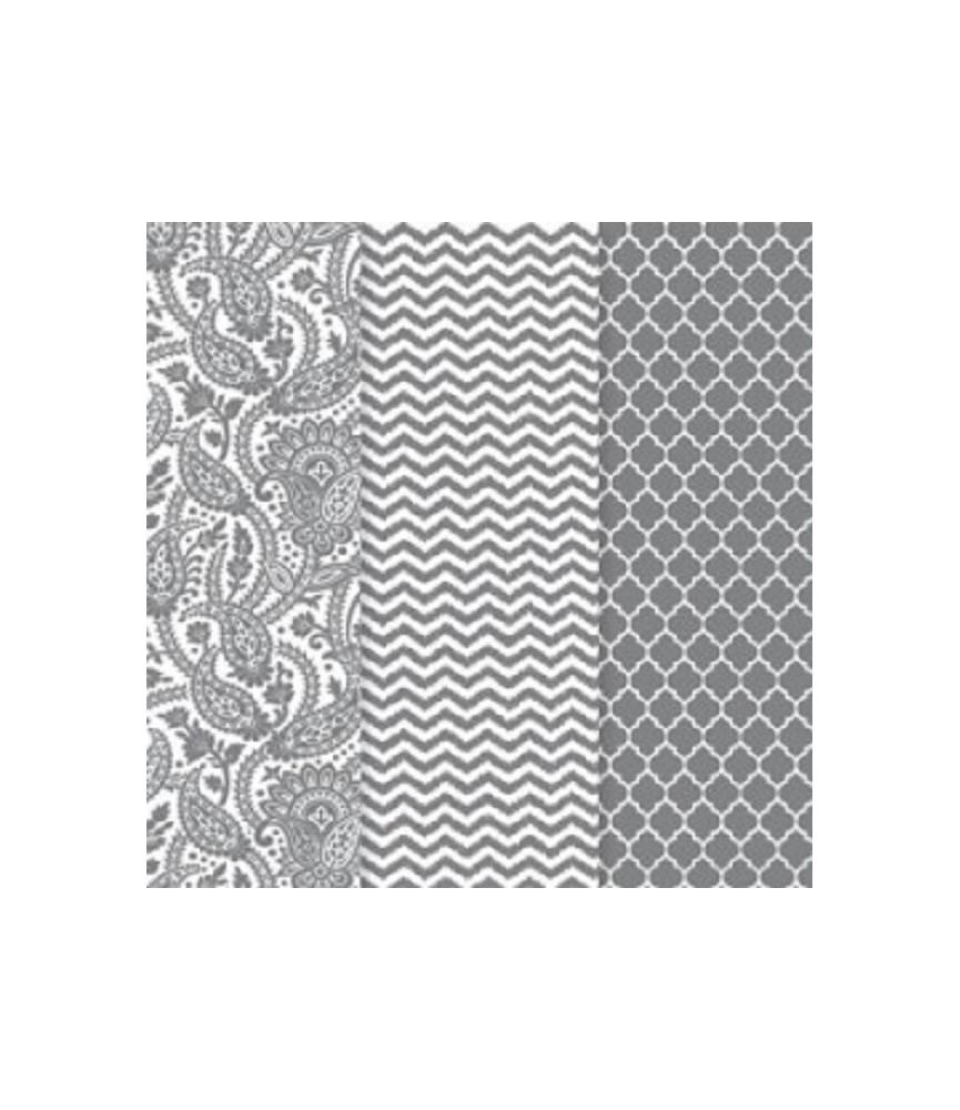 Pack de 3 hojas decoupage metalizadas plata