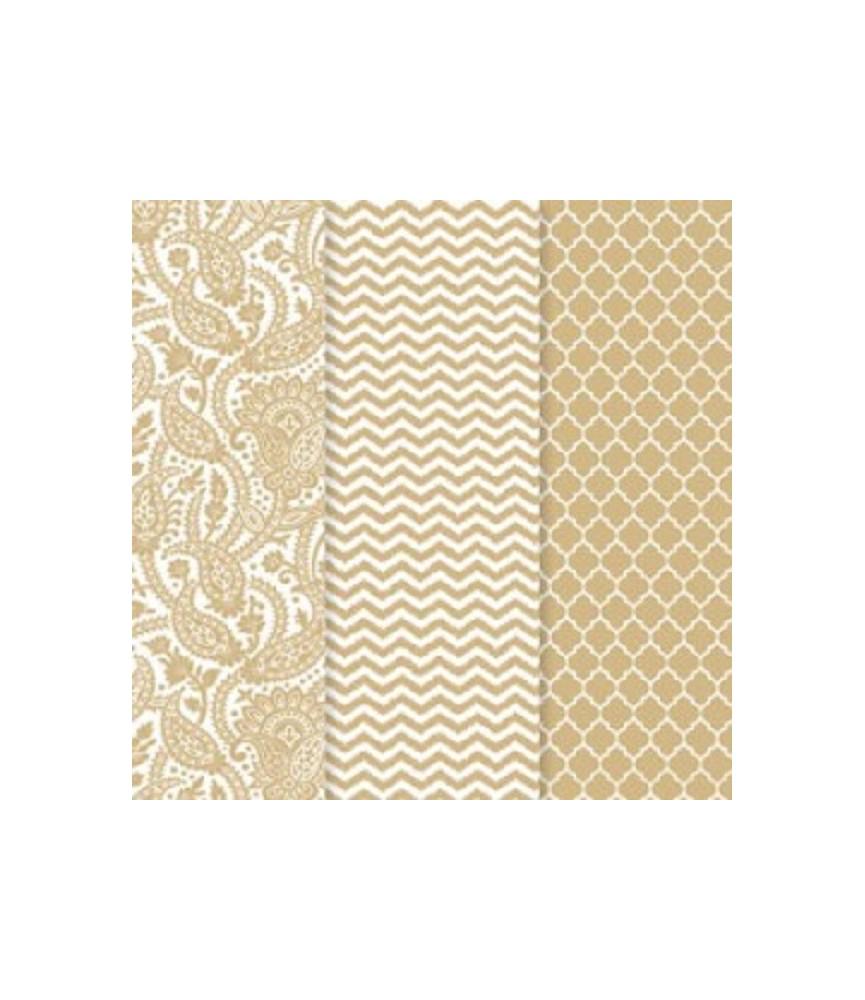 Pack de 3 hojas decoupage metalizadas doradas