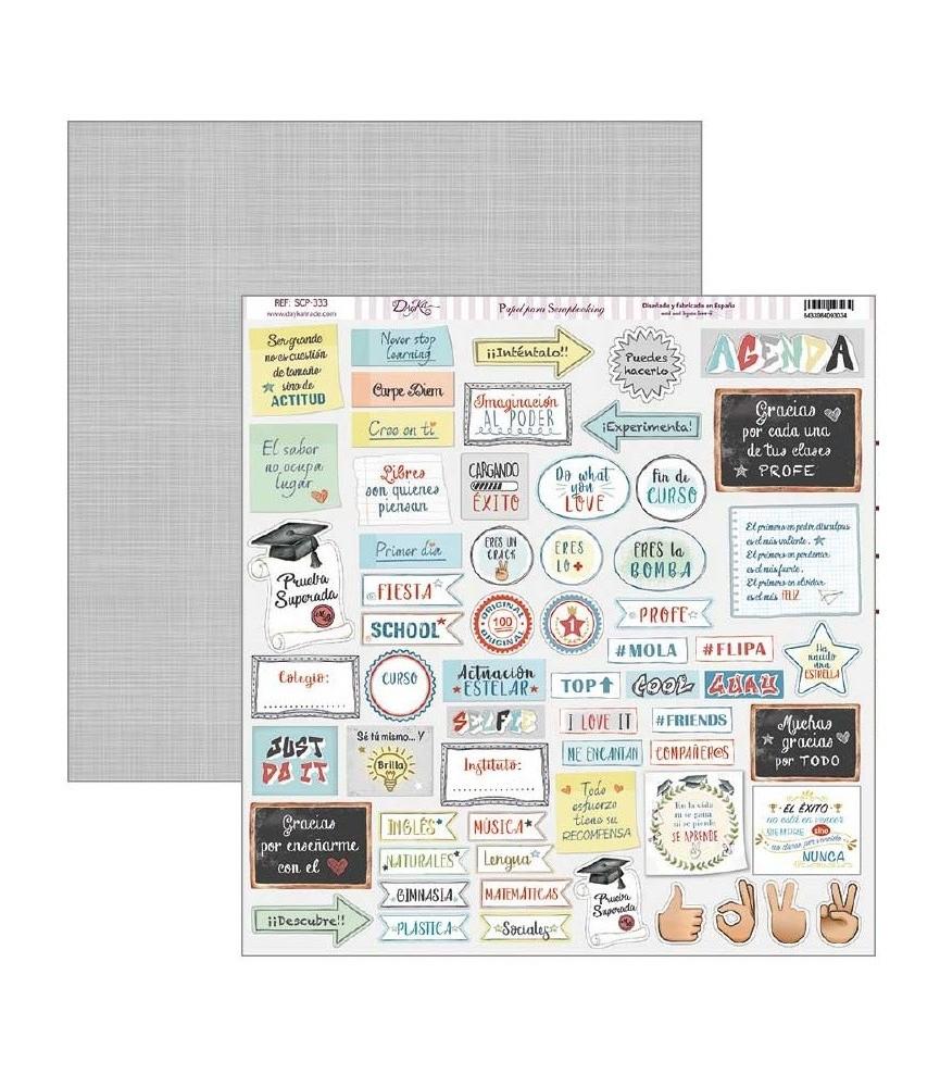 """Papel scrap School """"tag y etiquetas"""" 30.5 x 30.5 cm"""