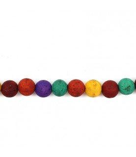 Pack de 10 cuentas de piedra volcanica colores mix