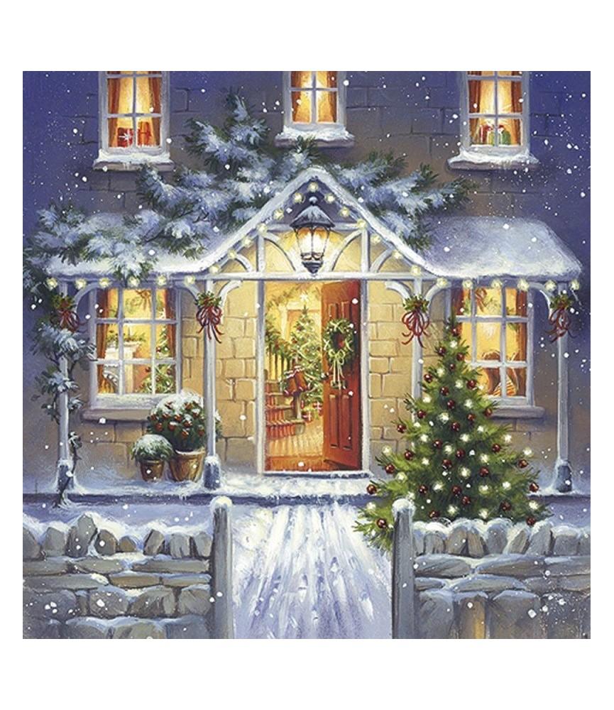 Servilleta para decoupage fachada de navidad