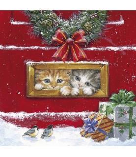 Imagén: Servilleta para decoupage gatitos en navidad