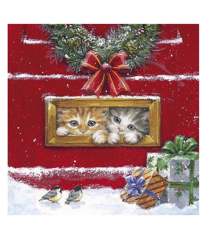 Servilleta para decoupage gatitos en navidad