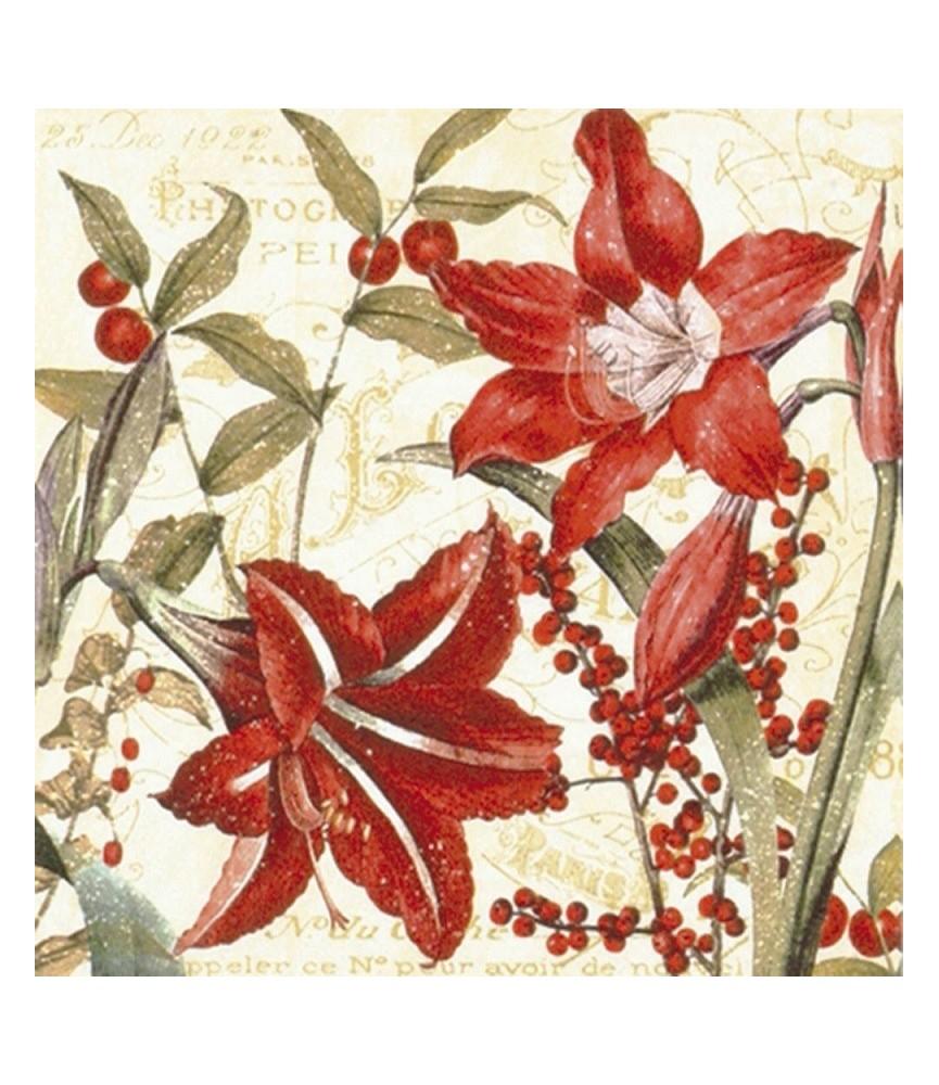 Servilleta para decoupage flores y frutos rojos