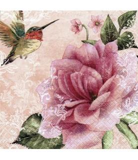 Comprar Servilleta para decoupage flor y pajarito de Conideade