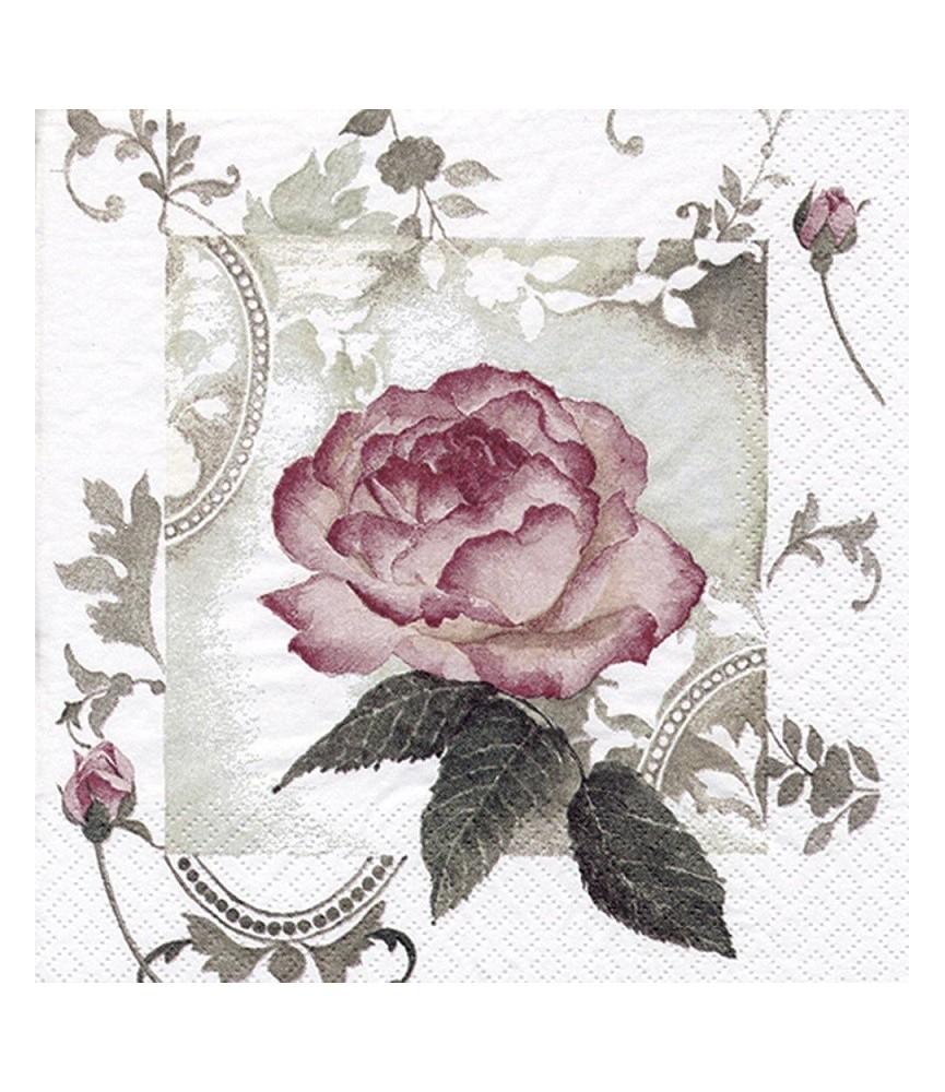 Servilleta para decoupage cuadro rosa