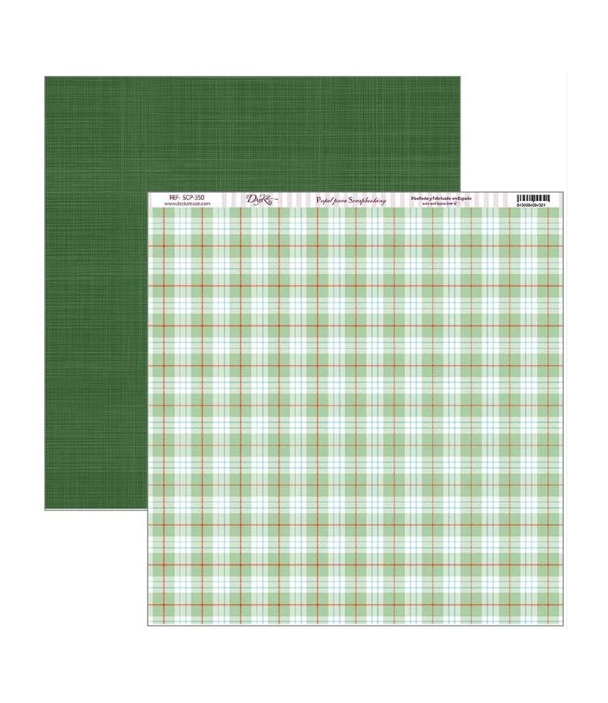 Papel scrap vive la navidad fono cuadros verdes