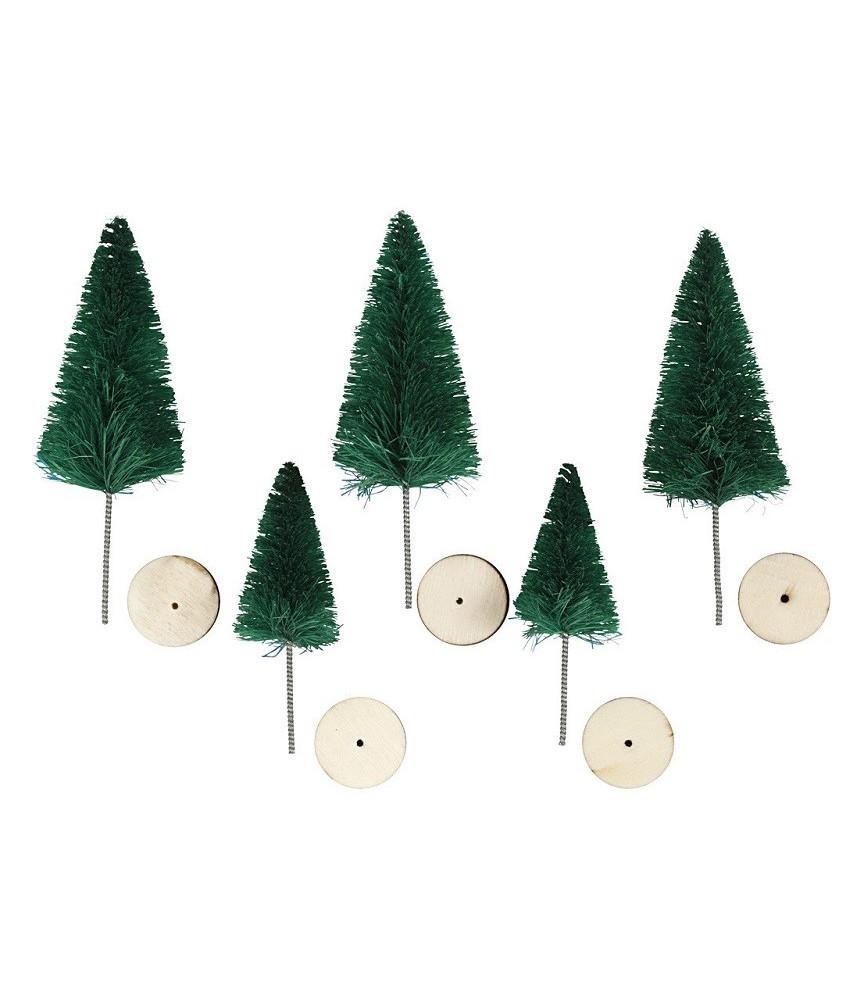 Set de 5 mini abetos de navidad