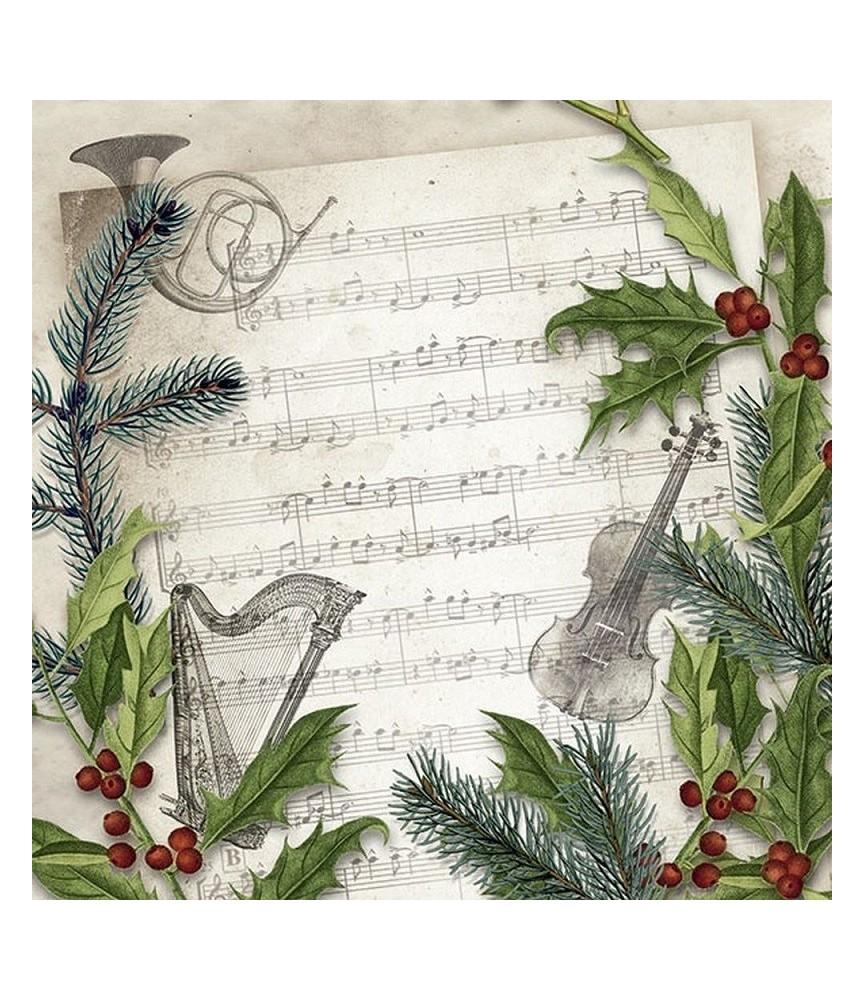 Servilleta para decoupage partitura navidad