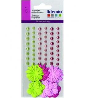 Kit 51 perlas y 24 flores rosa y verde