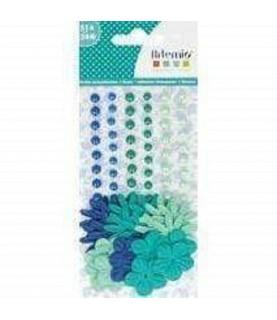Kit 51 perlas y 24 flores azul y verde